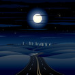 Highway to City at the Night. Illustration