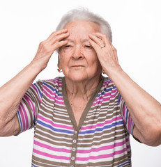 Old woman suffering from headache