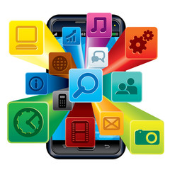Touchscreen Phone with Cloud of Application icons.