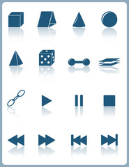 web pictograms icons with reflection