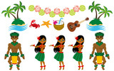 Hula Dancer and Hawaiian image set