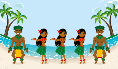 Hula Dancer in beautiful beach