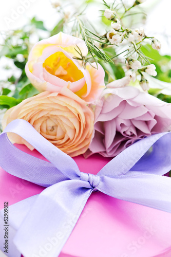 flowers with present