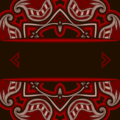 Greeting card with oriental pattern in red and black colors