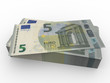 New five euros banknotes stacked
