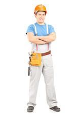 Full length portrait of a confident repairman in a uniform