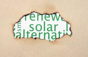 Solar  text on paper hole