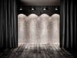 vintage stage with black curtain