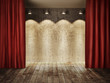 Stage wall with red curtains