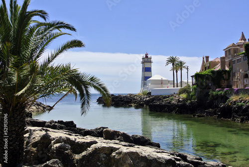 Scenic lighthouse in Cascais, Portugal
