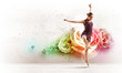 Girl in color dress dancing.Collage