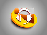 abstract glossy headphone icon