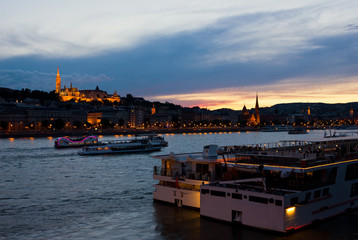 Colorful Sunset in Budapest with a Panoramic view of the river D