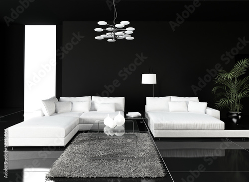 Black Design Living Room Interior with white couch
