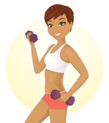 Sport girl working out with dumbbells