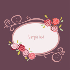Gift card with roses flowers and ornated frame