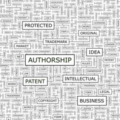 AUTHORSHIP. Word cloud concept illustration.
