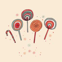Lollipops. Sugarplums.Different fruit drops