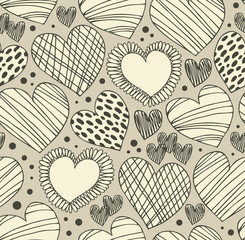 Seamless ornamental pattern with hearts