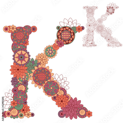Vector illustration on the letter K