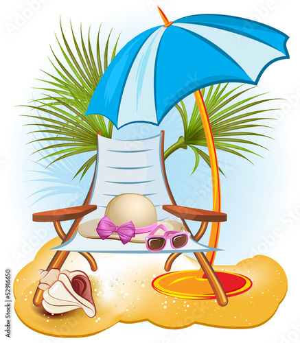seaside summer holiday background with chair