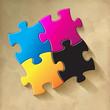 CMYK Puzzle Vintage