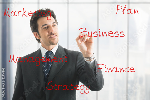 Businessman writing business concepts