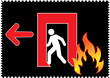 Emergency fire exit with arrow direction to left side