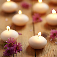 Candles and flowers. Spa