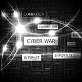 CYBER WAR. Word cloud concept illustration.