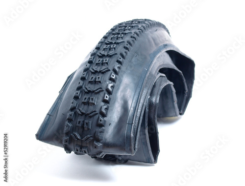 Mountain bike tire deflated