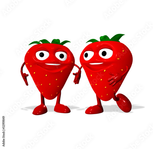 3d rendered of a strawberrys characters