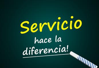 Servicio hace la diferencia (pizarra verde)