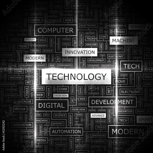 TECHNOLOGY. Word cloud concept illustration.