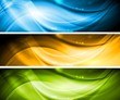 Shiny waves elegant banners
