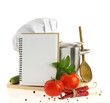 canvas print picture - Cookbook, vegetables and casserole isolated on white