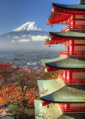 Mt. Fuji and Autumn Leaves at Arakura Sengen Shrine in Japan