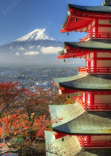 Foto op Plexiglas Japan Mt. Fuji and Autumn Leaves at Arakura Sengen Shrine in Japan