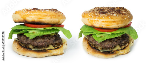 Hamburger with meat and lettuce
