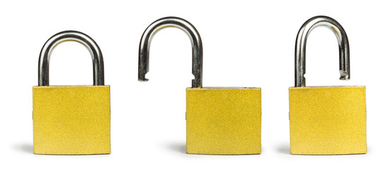 Yellow padlock isolated