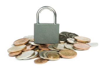 Grey locked padlock and coins