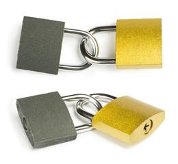 Yellow padlock isolated
