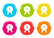 Iconos de colores símbolo de premio, reconocimiento o número 1