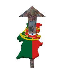 European Euros arrow and Portugal map flag illustration