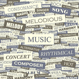 MUSIC. Word cloud concept illustration.