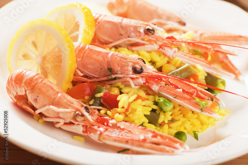 Seafood risotto with shrimps
