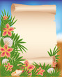 Blank paper scroll on summer tropical background, vector