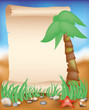 Blank paper scroll on summer background, vector