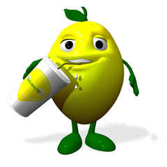 3d rendered of a lemon character and jpgurt
