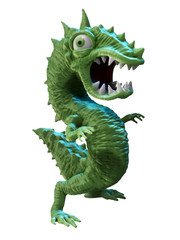 Green dollar shaped cartoon monster